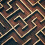 dark brown wooden labyrinth maze